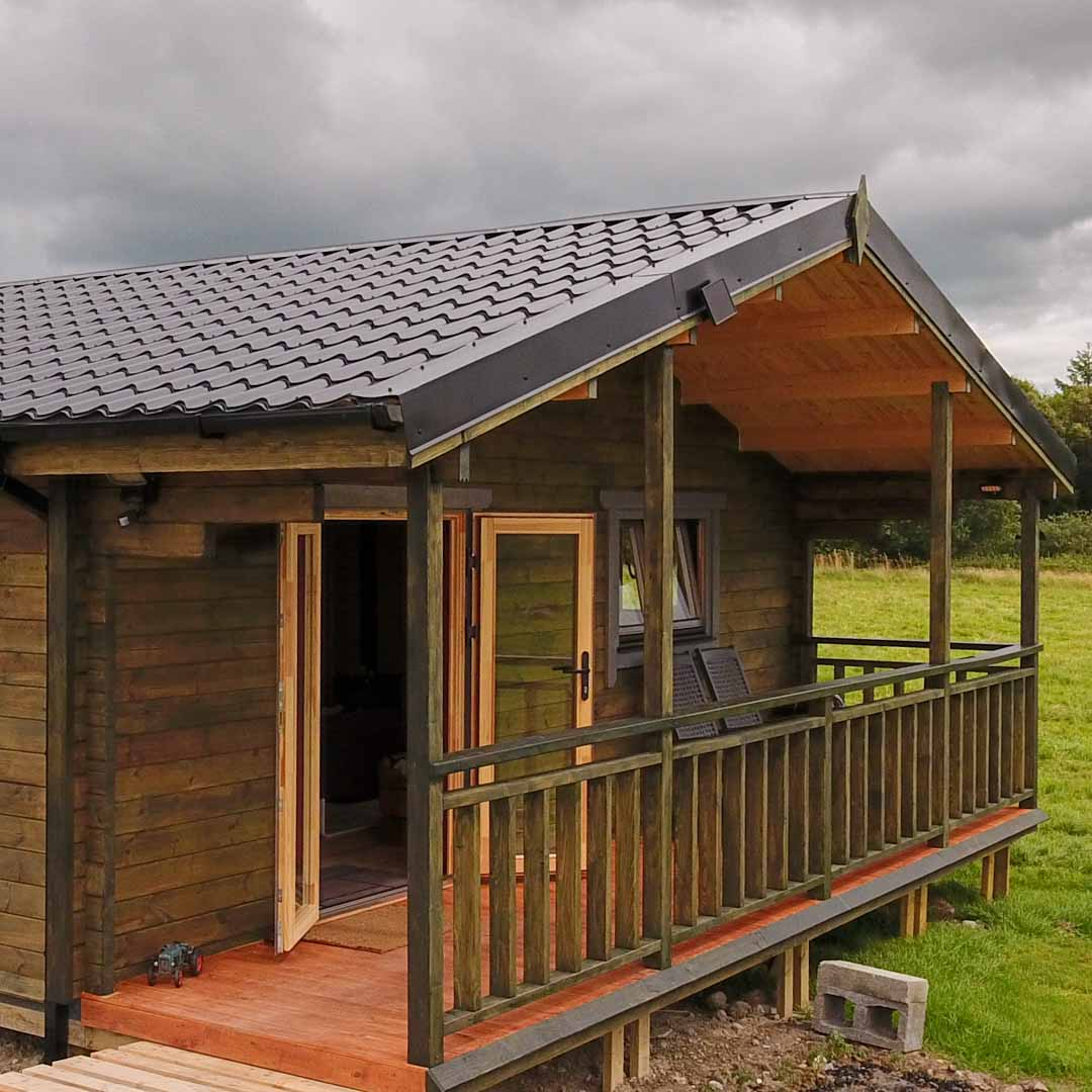 Three Bed Type A Log Cabin Outside Porch