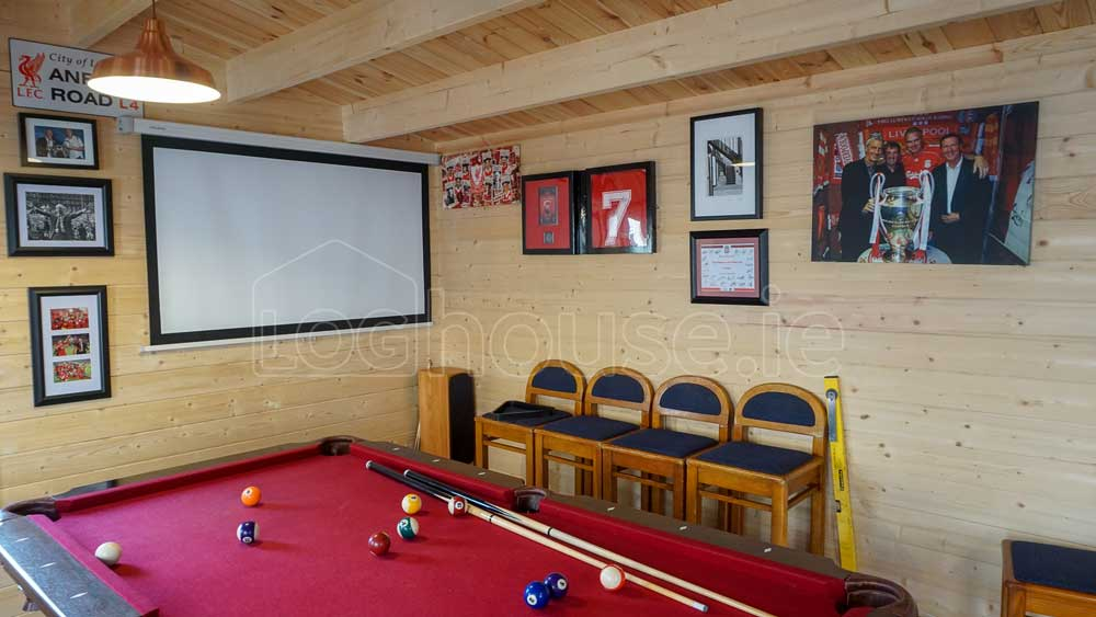 Log Cabin with Man Cave Big Screen TV